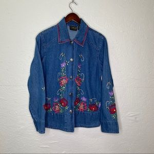 Allure Embroidered Denim Jacket, Small